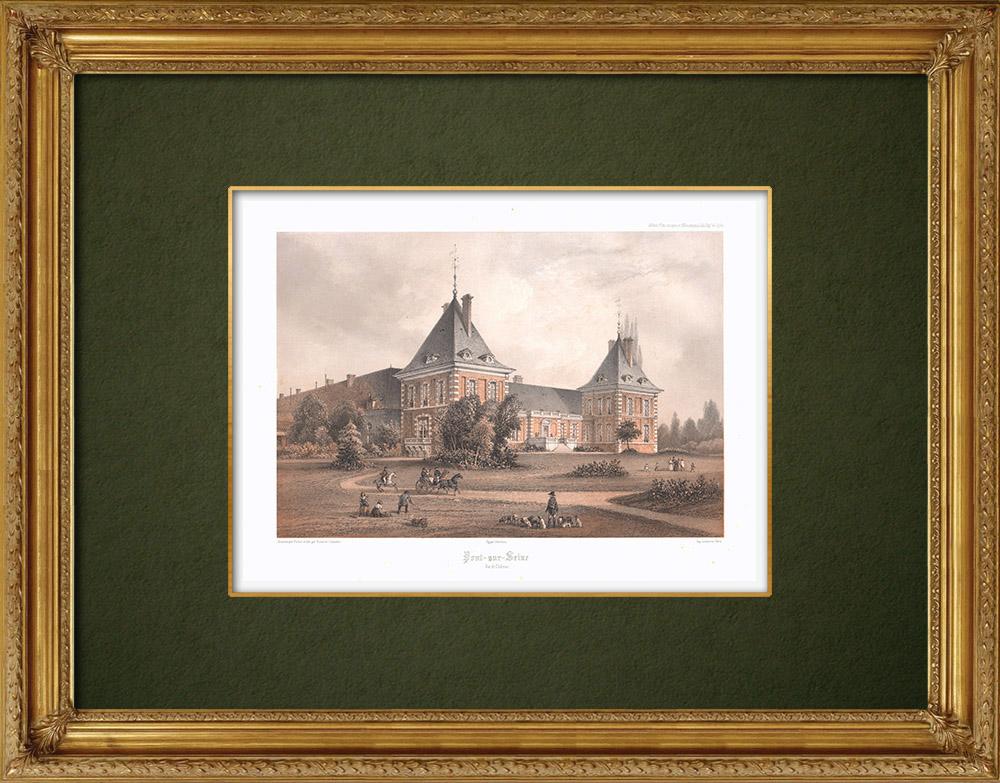 Stampe Antiche & Disegni | Castello di Pont-sur-Seine - Aube (Francia) | Litografia | 1852