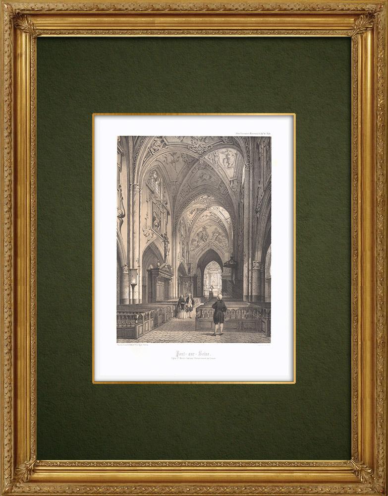 Stampe Antiche & Disegni | Chiesa di Pont-sur-Seine - Aube (Francia) | Litografia | 1852