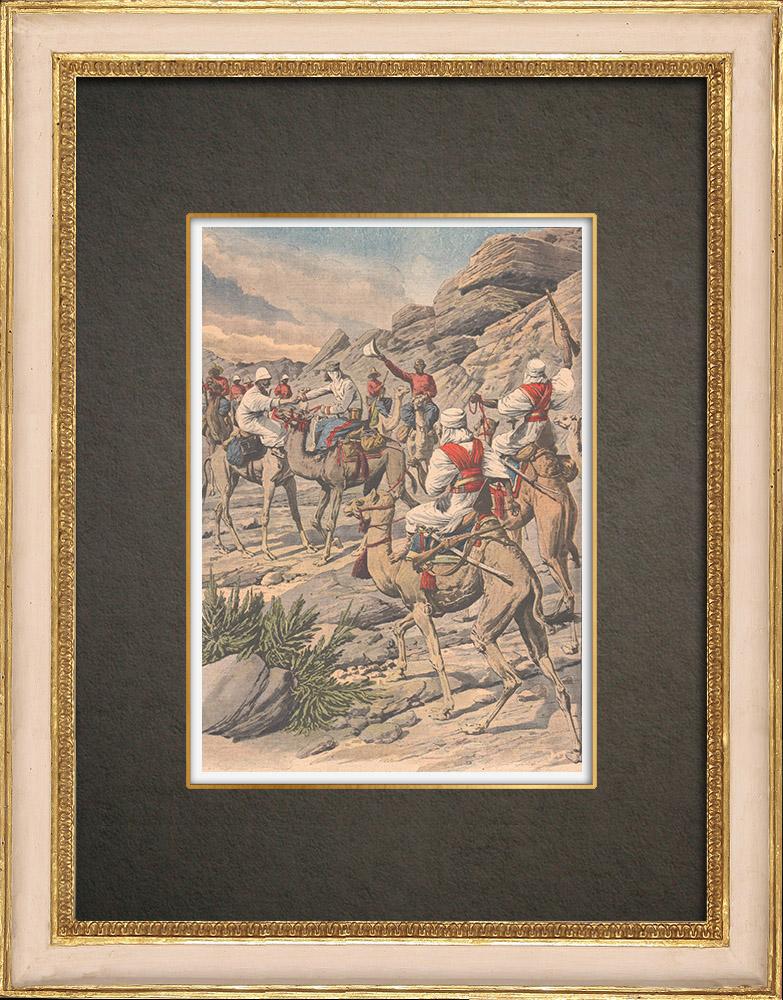 Stampe Antiche & Disegni | Incontro di truppe algerine e sudanese vicino a Timiaouine - Algeria - 1908 | Incisione xilografica | 1908