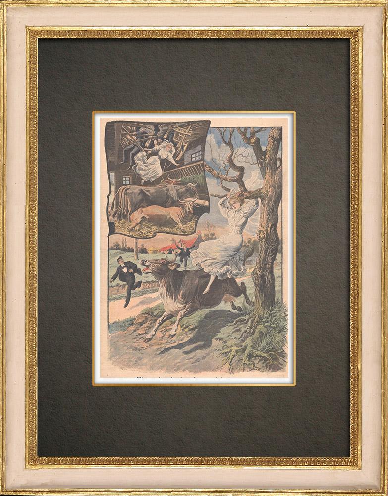 Stampe Antiche & Disegni   Incidente durante un matrimonio in Alta Savoia - Francia - 1908   Incisione xilografica   1908