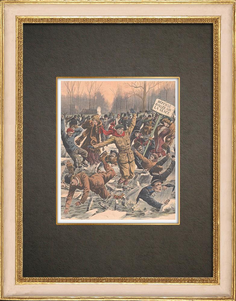 Stampe Antiche & Disegni   Lago ghiacciato al Bois de Boulogne - Morte di due pattinatori - Île-de-France - 1908   Incisione xilografica   1908