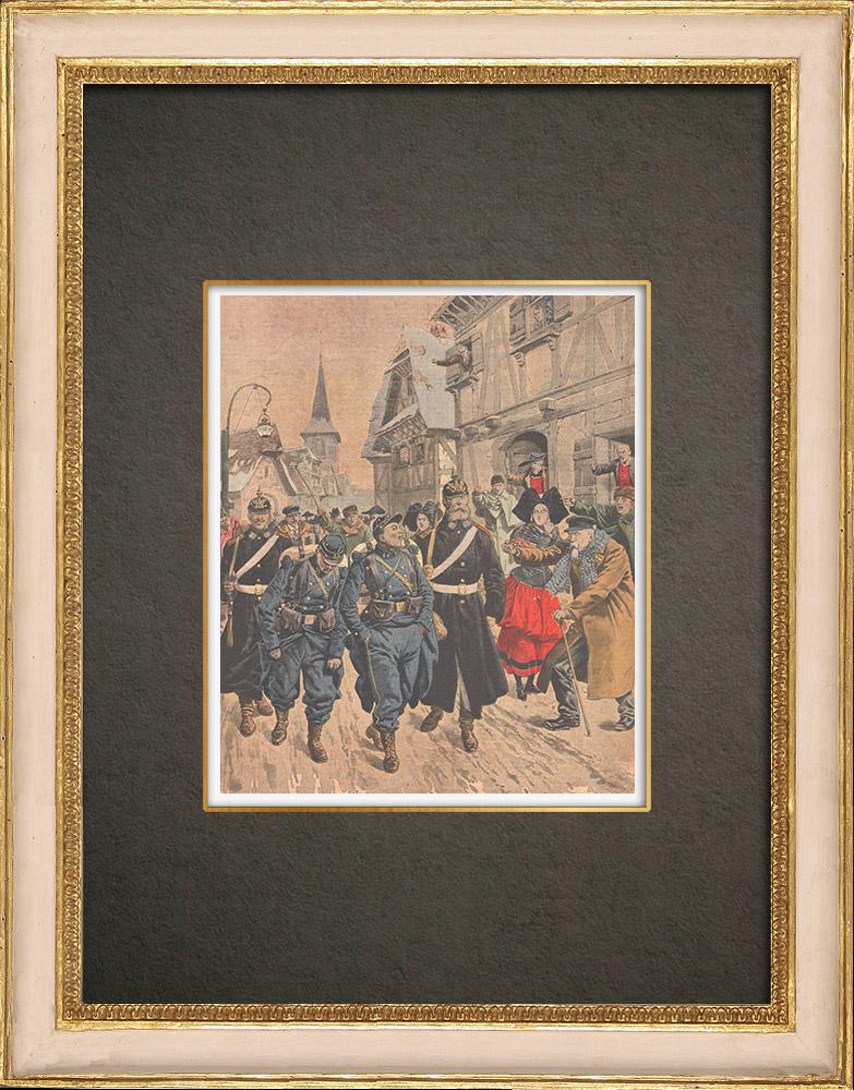 Stampe Antiche & Disegni | Arrivo di due disertori francesi in Alsazia - 1908 | Incisione xilografica | 1908