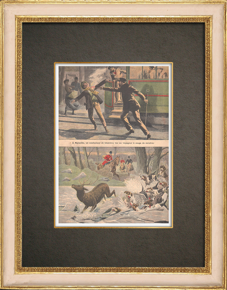 Stampe Antiche & Disegni | Assassinio a Marsiglia - Caccia - Cani e selvaggina affogati a Fontainebleau - 1908 | Incisione xilografica | 1908