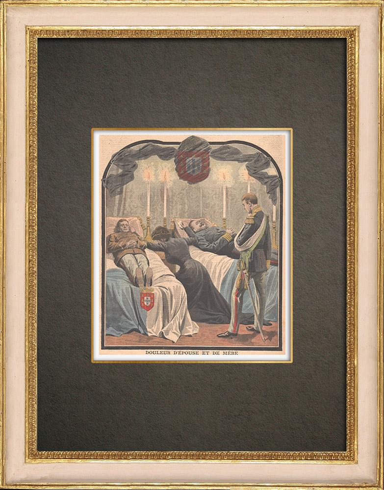 Gravures Anciennes & Dessins | Attentat de Lisbonne - Mort du roi Charles Ier et de son fils - Portugal - 1908 | Gravure sur bois | 1908