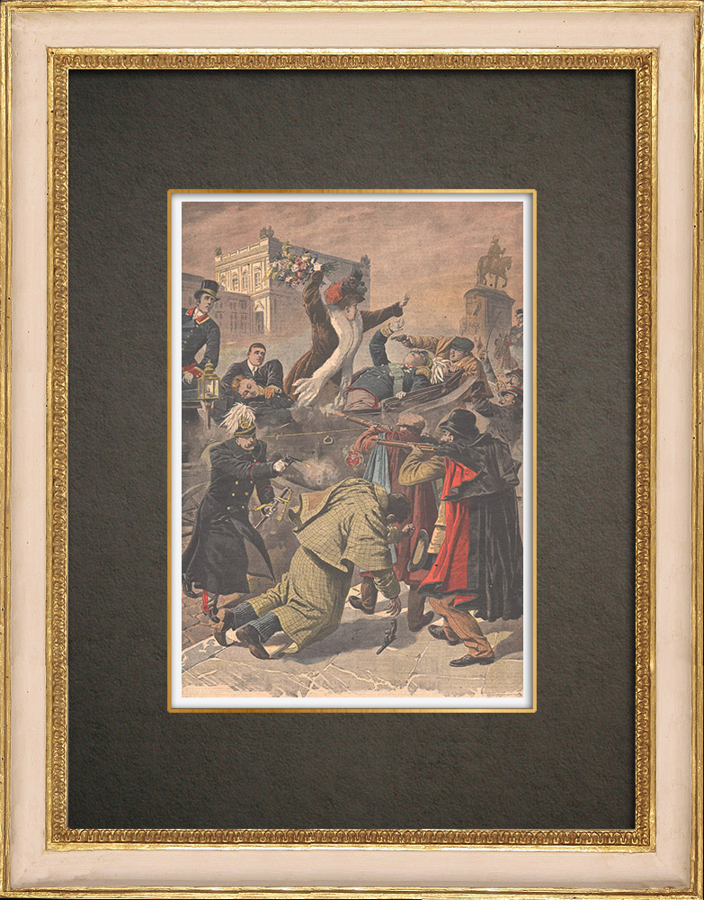 Stampe Antiche & Disegni | Regicidio a Lisbona - Morte del re Carlo I e di suo figlio - Portogallo - 1908 | Incisione xilografica | 1908