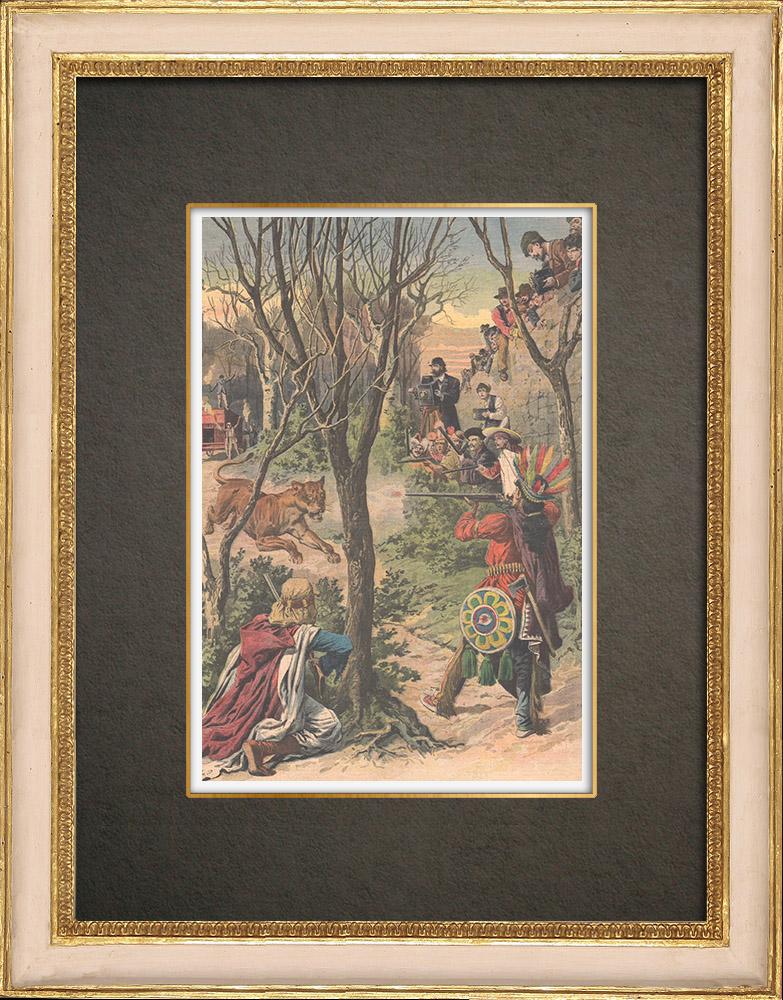 Stampe Antiche & Disegni | Caccia al leone in un parco vicino a Milano - Italia - 1908 | Incisione xilografica | 1908