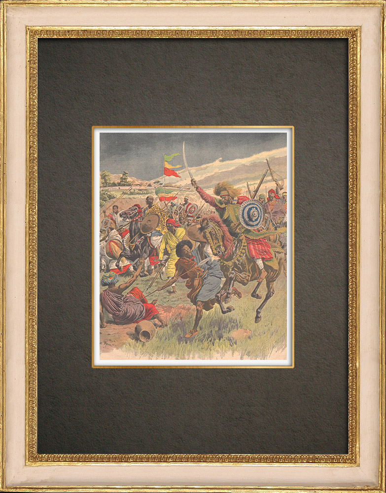 Grabados & Dibujos Antiguos | Frontera Italo-Etíope - Conflictos entre Abisinios y Somalíes - Razzia - Benadir - 1908 | Grabado xilográfico | 1908