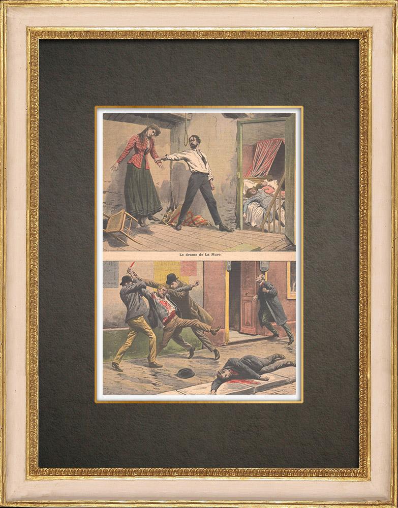 Stampe Antiche & Disegni | Un uomo uccide la sua famiglia e si suicida a La Mure - Francia - 1908 | Incisione xilografica | 1908