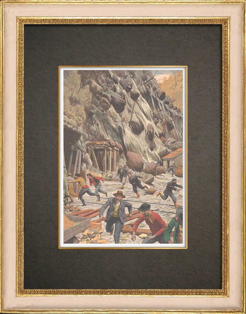 Antique Prints & Drawings | Goppenstein buried by an avalanche - Canton of Valais - Switzerland - 1908 | Wood engraving | 1908