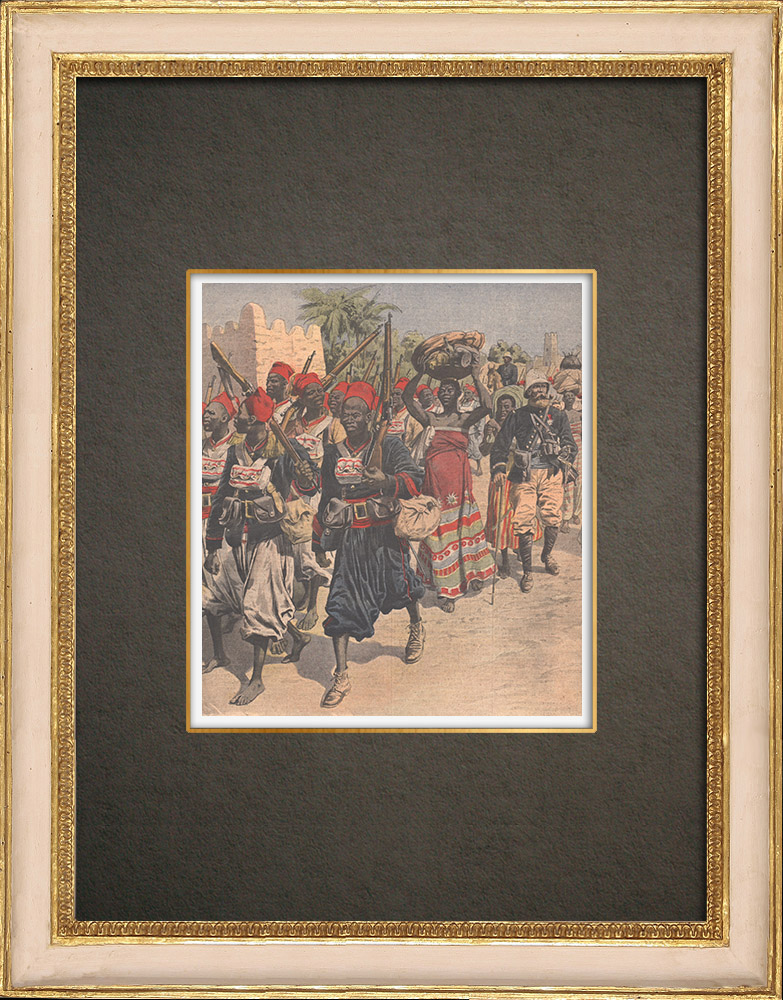 Antique Prints & Drawings | Pacification of Morocco - Senegalese tirailleurs and French troops - 1908 | Wood engraving | 1908