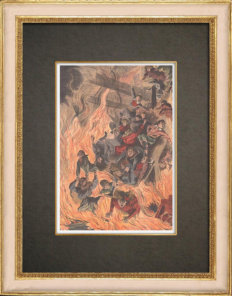 Stampe Antiche & Disegni | Incendio mortale in una scuola di Cleveland - Stati Uniti d'America - 1908 | Incisione xilografica | 1908
