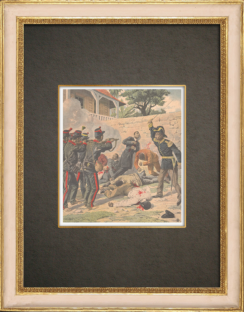 Antique Prints & Drawings | Haitian Revolution - Execution of the insurgents in Port-au-Prince - Haiti - 1908 | Wood engraving | 1908