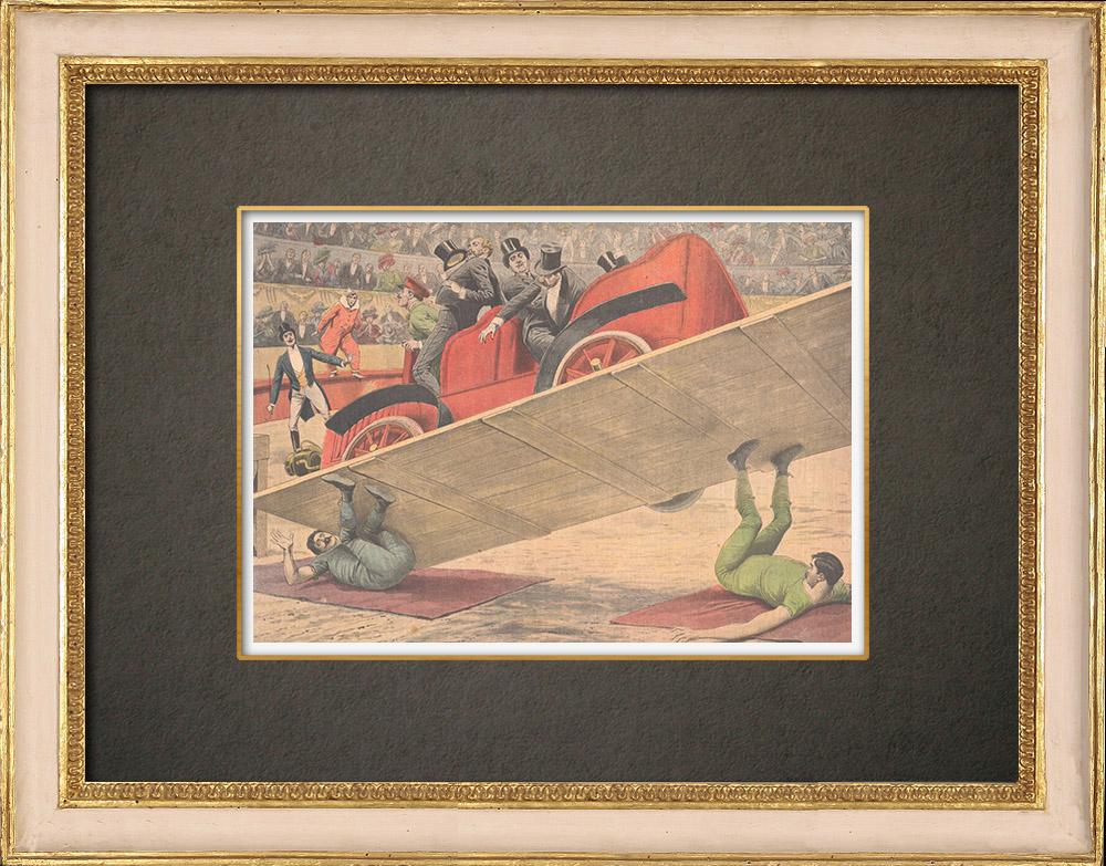 Stampe Antiche & Disegni | Tragico spettacolo in un circo di Bruxelles - Belgio - 1908 | Incisione xilografica | 1908