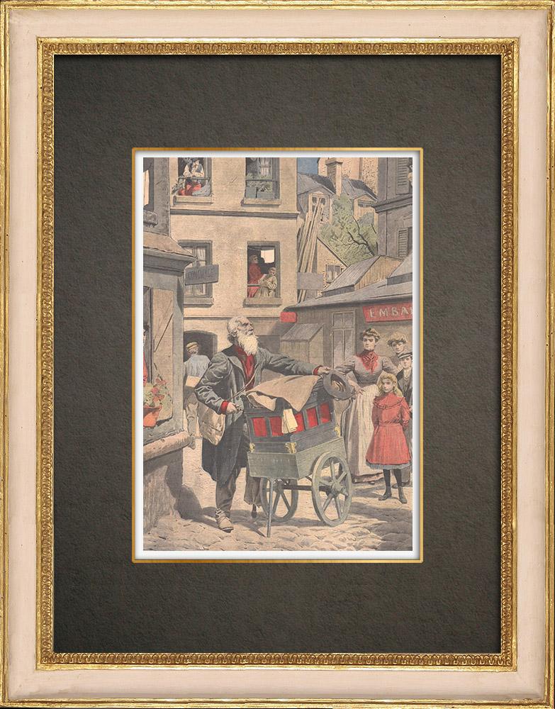 Antique Prints & Drawings | Barrel Organ in the streets of Paris - 1908 | Wood engraving | 1908