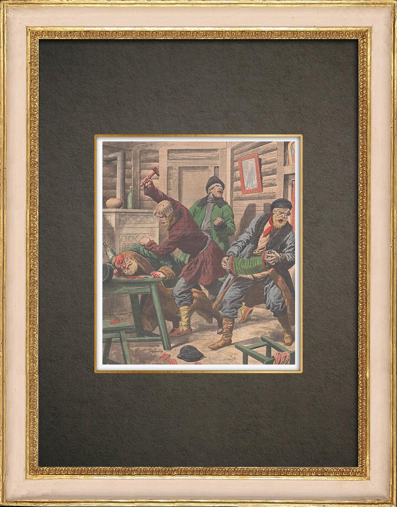 Stampe Antiche & Disegni | Assassinio a Tsaritsyne - Música - Canto - Russia - 1908 | Incisione xilografica | 1908