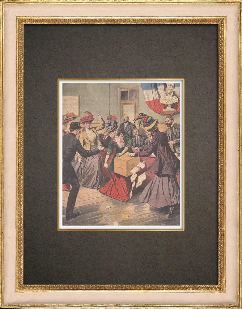 Stampe Antiche & Disegni | Femminismo - Suffragette - Attacco delle urne elettorale - Parigi - 1908 | Incisione xilografica | 1908