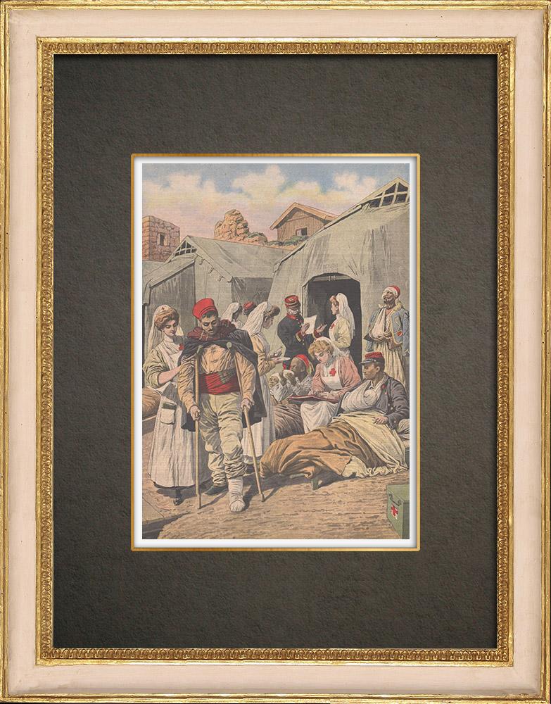 Gravures Anciennes & Dessins   Conquête du Maroc - Les infirmières françaises soignent les blessés - 1908   Gravure sur bois   1908