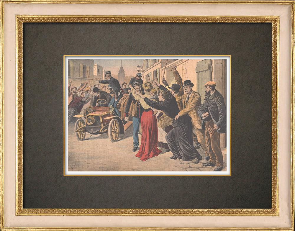 Grabados & Dibujos Antiguos | Jeanne Weber se va a prisión - St Mihiel- 1908  | Grabado xilográfico | 1908