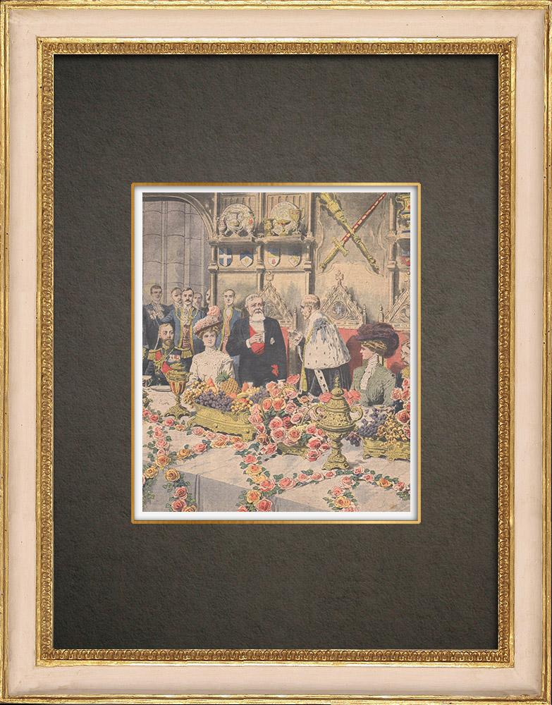Gravures Anciennes & Dessins   Armand Fallières au banquet de Guildhall - Londres - Angleterre - 1908   Gravure sur bois   1908