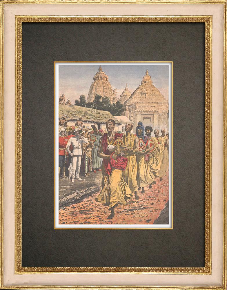 Stampe Antiche & Disegni | Firewalking - Tradizione religiose - Brahmano - Madras - India - 1908 | Incisione xilografica | 1908