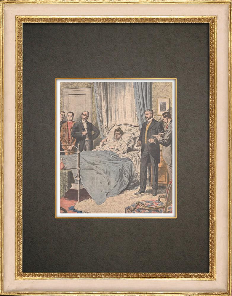 Stampe Antiche & Disegni | La misteriosa affare di Steinheil - Interrogatorio di Marguerite Steinheil - Parigi - 1908 | Incisione xilografica | 1908
