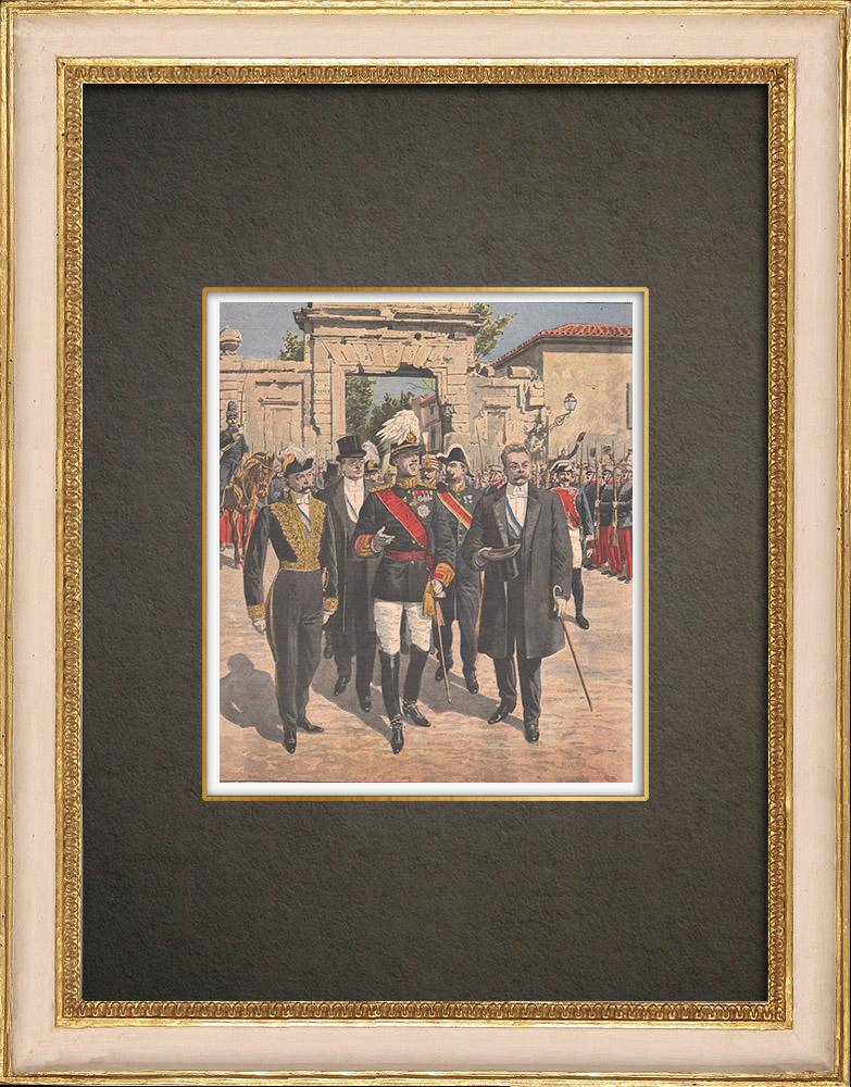 Antique Prints & Drawings | King Alfonso XIII in Zaragoza - Puerta del Carmen - Spain - 1908 | Wood engraving | 1908