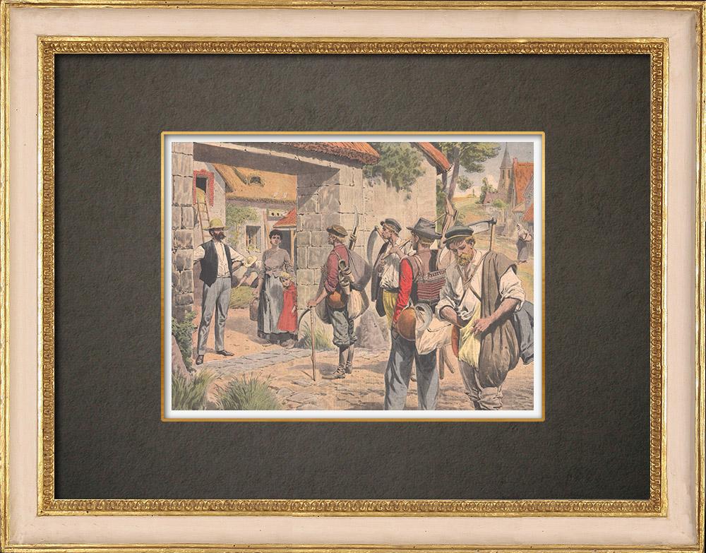 Stampe Antiche & Disegni | Mietitori belgi in Francia - 1908 | Incisione xilografica | 1908