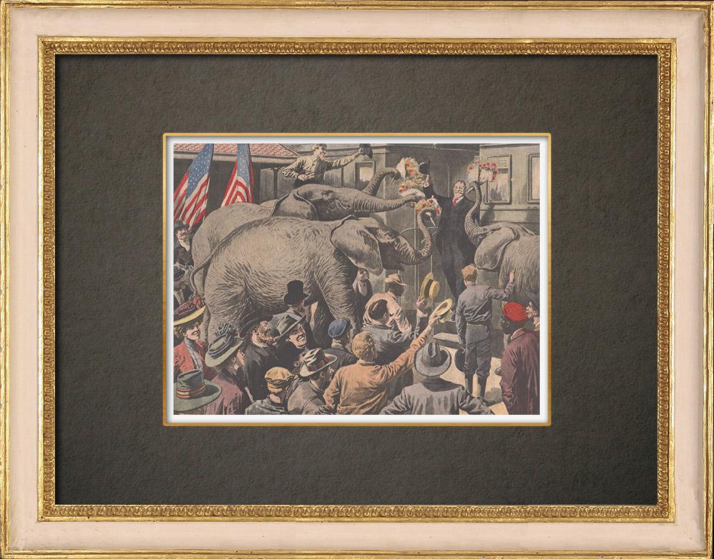 Stampe Antiche & Disegni | Elefanti offrono fiori a W.H.Taft alla stazione di Cumberland - 1908 | Incisione xilografica | 1908