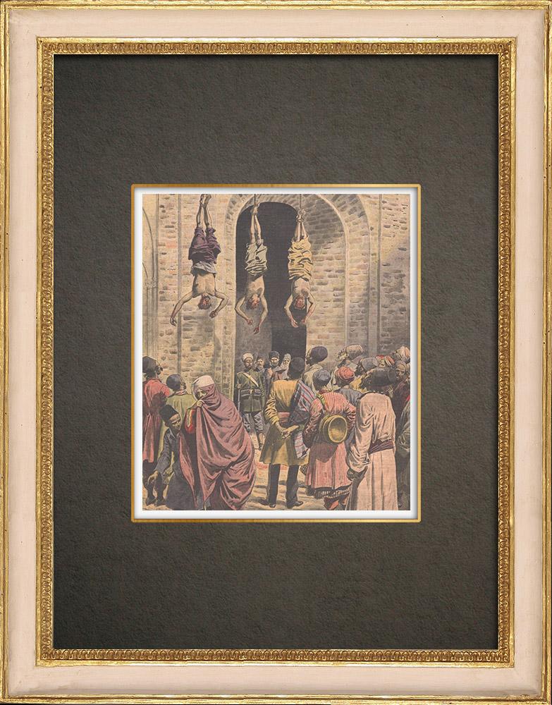 Stampe Antiche & Disegni | Tre esecuzioni in Persia - Supplizio - Impiccagione - 1908 | Incisione xilografica | 1908