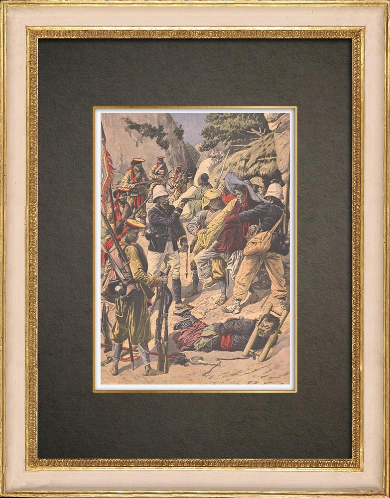 Stampe Antiche & Disegni | Eventi in Indocina - Confine sino-tonkinese - Lao Kay - 1908 | Incisione xilografica | 1908