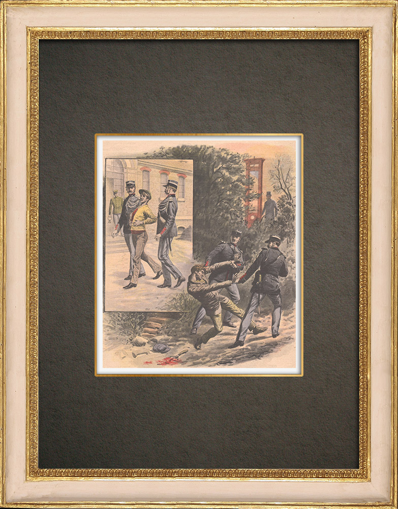 Antique Prints & Drawings | The fear of the guillotine - Death penalty - Decapitation - 1908 | Wood engraving | 1908