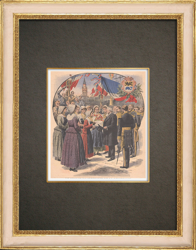 Gravures Anciennes & Dessins | Les Bazennes offrent des fleurs à A. Fallières - Dunkerque - 1908 | Gravure sur bois | 1908