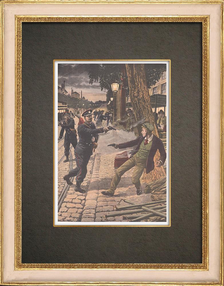 Antique Prints & Drawings | Right of self-defense in Bicêtre - Île-de-France - 1908 | Wood engraving | 1908