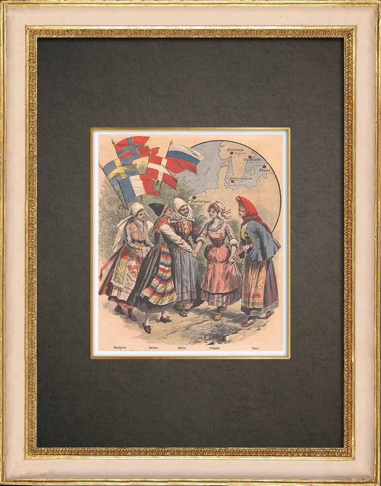 Gravures Anciennes & Dessins | Femmes française, danoise, suédoise, norvégienne et russe - Costumes régionaux - 1908 | Gravure sur bois | 1908