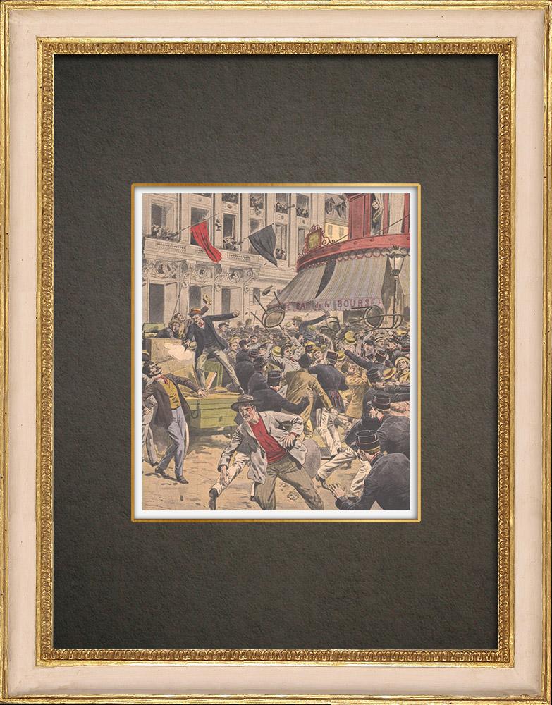 Stampe Antiche & Disegni   Sciopero - Combattendo nei paraggi di Bourse du Travail - Parigi - 1908   Incisione xilografica   1908