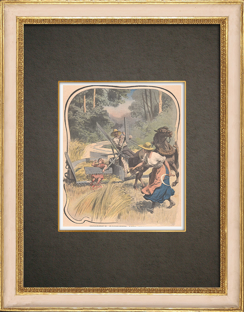 Stampe Antiche & Disegni | Un bambino ferito da un motofalce durante il raccolto - Ham-Haute - 1908 | Incisione xilografica | 1908