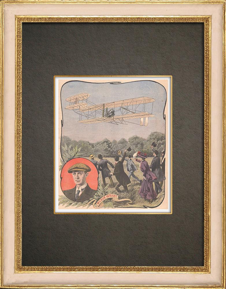 Stampe Antiche & Disegni | Aeroplano - Wilbur Wright - Volo - Champagné - 1908 | Incisione xilografica | 1908
