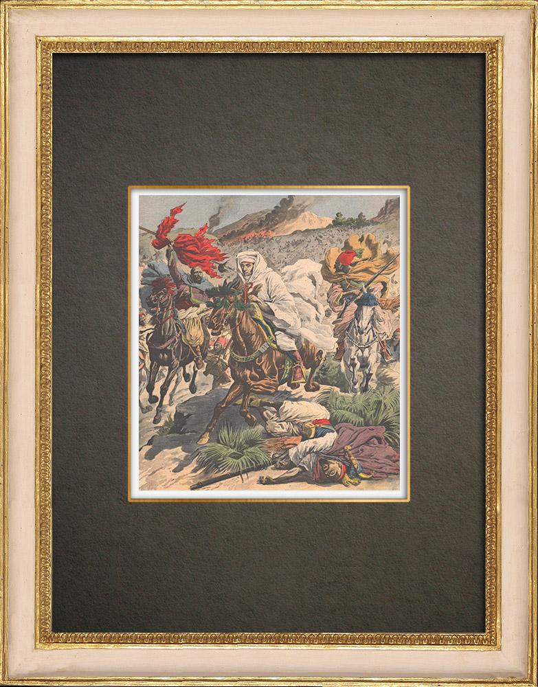 Stampe Antiche & Disegni | Conquista francese del Marocco - Fuga di Moulay Abdelaziz - Marocco - 1908 | Incisione xilografica | 1908