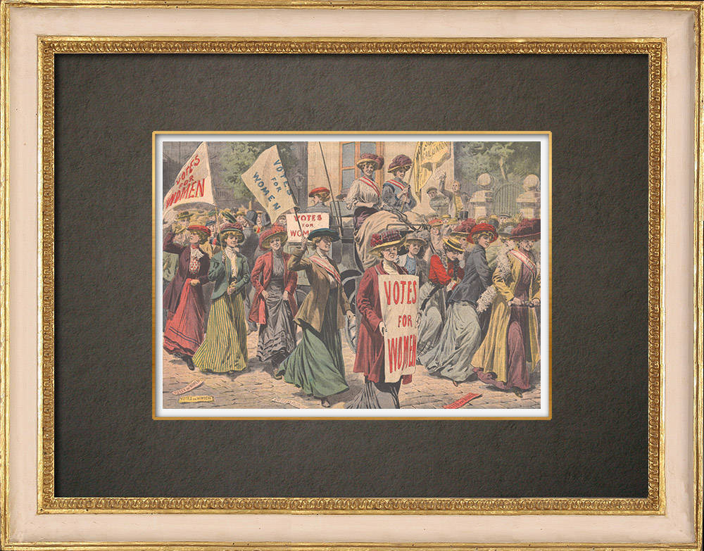 Antique Prints & Drawings | Feminism - Suffragettes in London - England - 1908 | Wood engraving | 1908