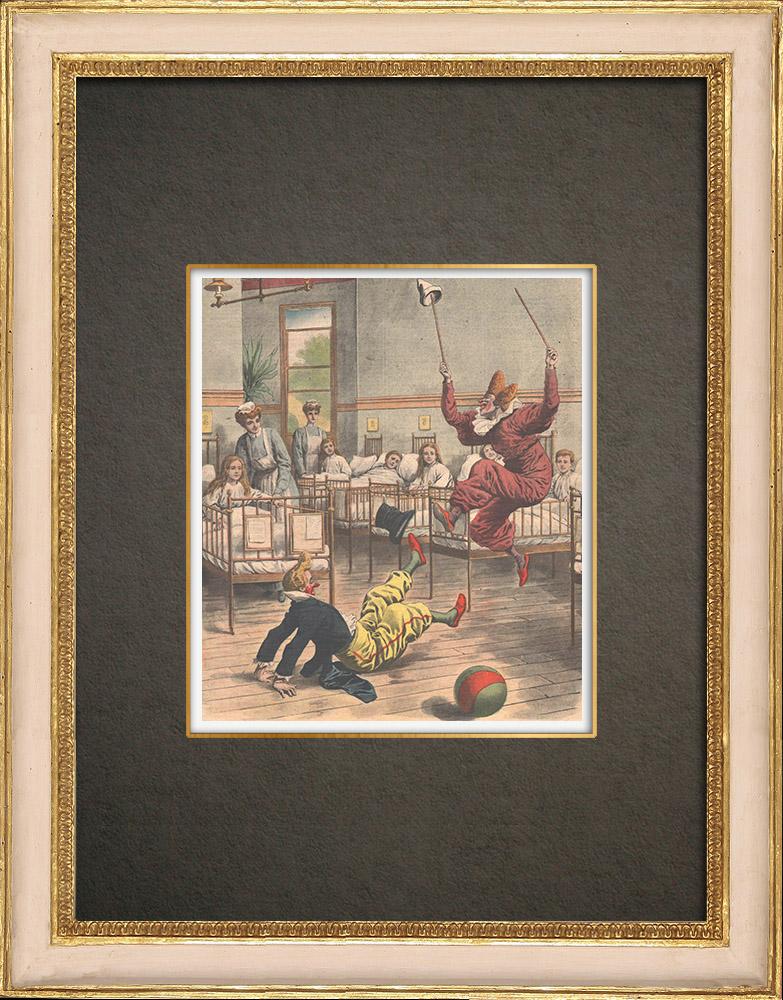 Gravures Anciennes & Dessins | Des clowns dans les hôpitaux d'enfants - Londres - 1908 | Gravure sur bois | 1908