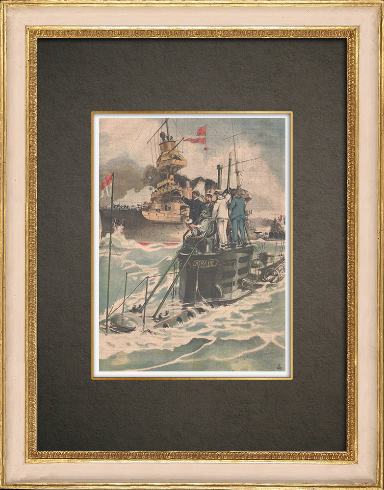 Antique Prints & Drawings | Naval military exercise - Submarine against battleship - 1908 | Wood engraving | 1908