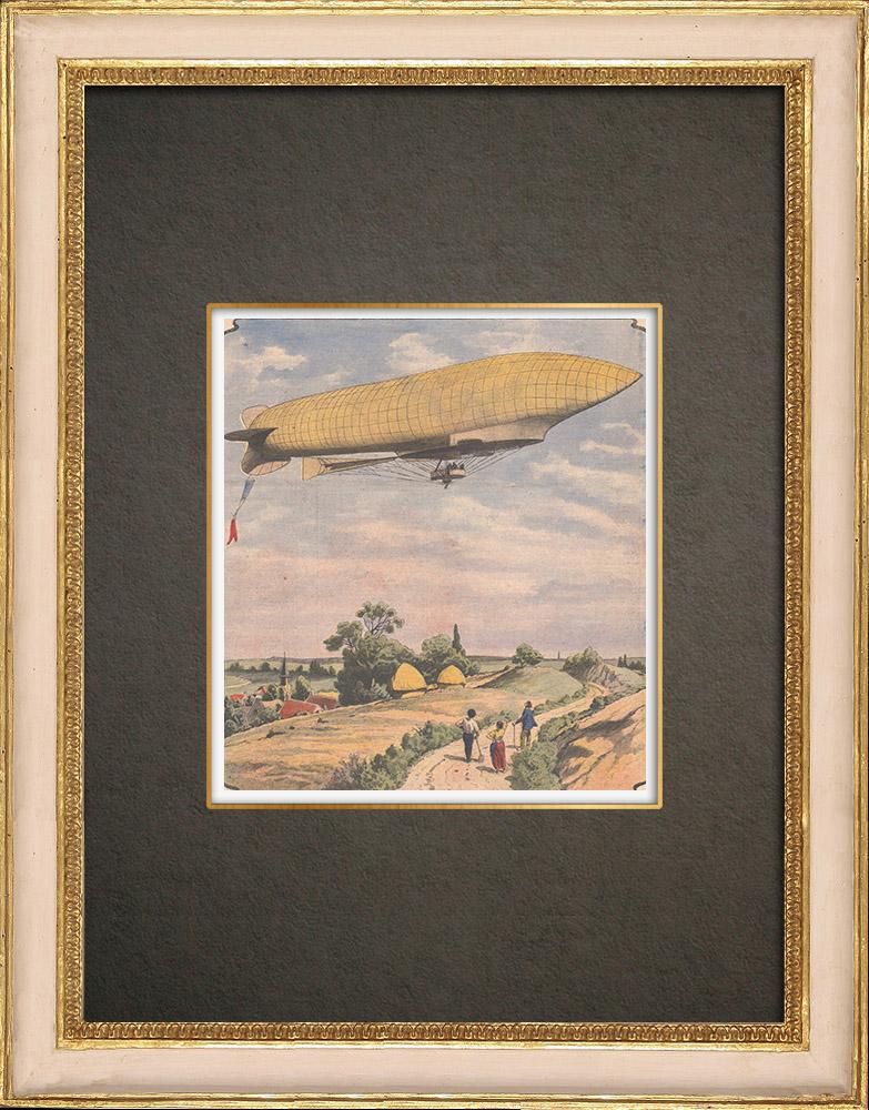 Stampe Antiche & Disegni | Primo volo del dirigibile République - 1908 | Incisione xilografica | 1908