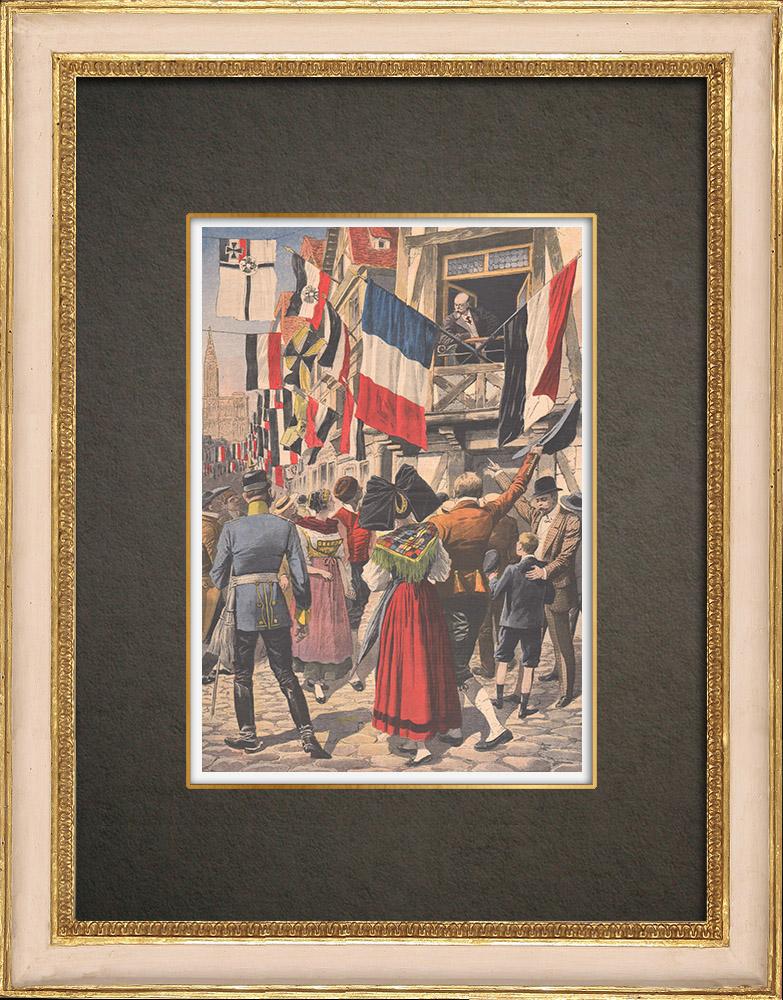 Stampe Antiche & Disegni | La bandiera francese a Strasburgo - 1908 | Incisione xilografica | 1908