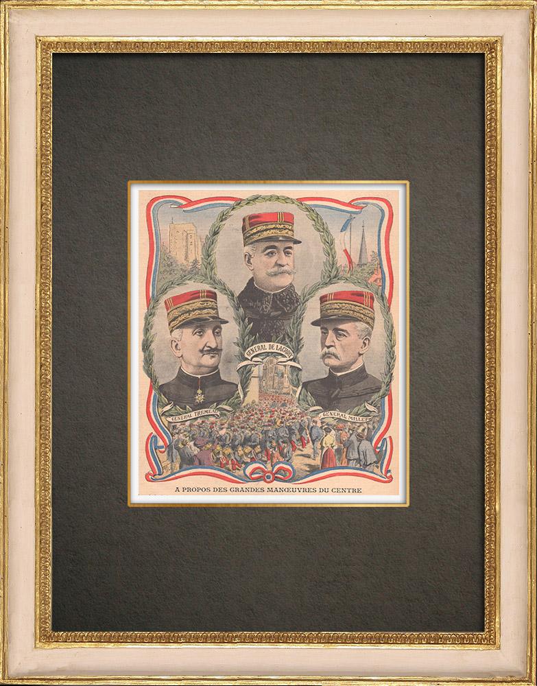 Stampe Antiche & Disegni | Esercitazioni militari 1908 - Ritratti - Generali de Lacroix, Tremeau, Millet - Francia | Incisione xilografica | 1908