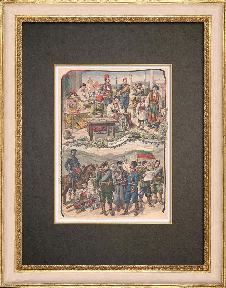Stampe Antiche & Disegni | Costumi Bosgnacchi - Bosnia ed Erzegovina - Uniforme militare bulgara - 1908 | Incisione xilografica | 1908