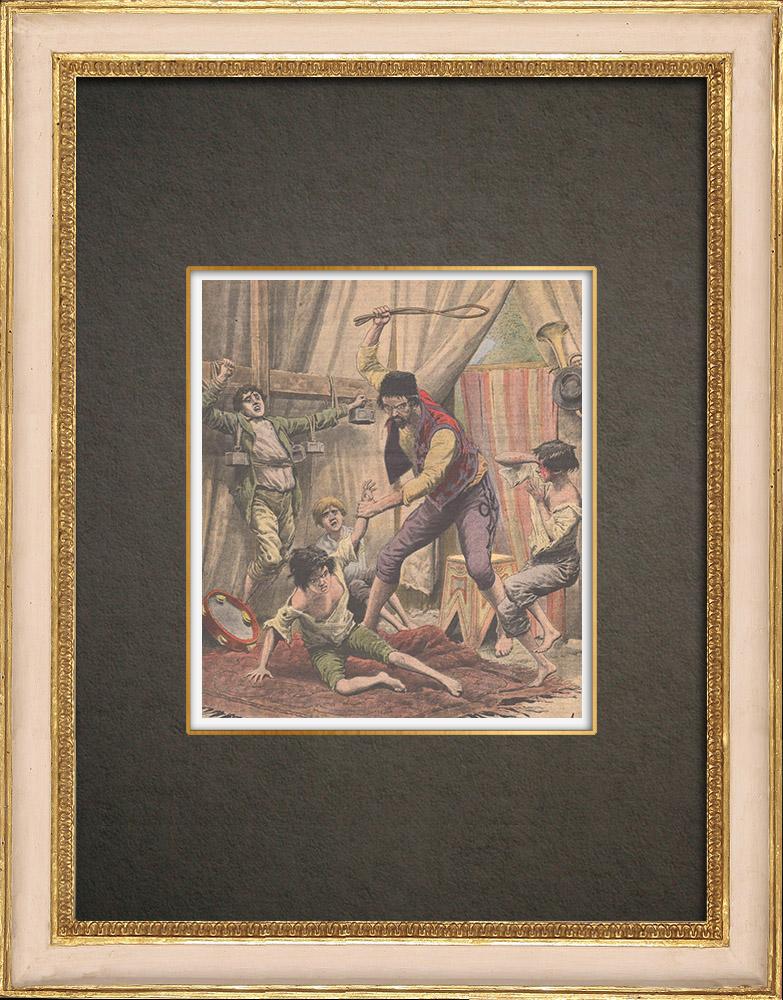Stampe Antiche & Disegni | Bambini torturati in un circo itinerante - Ungheria - 1908 | Incisione xilografica | 1908
