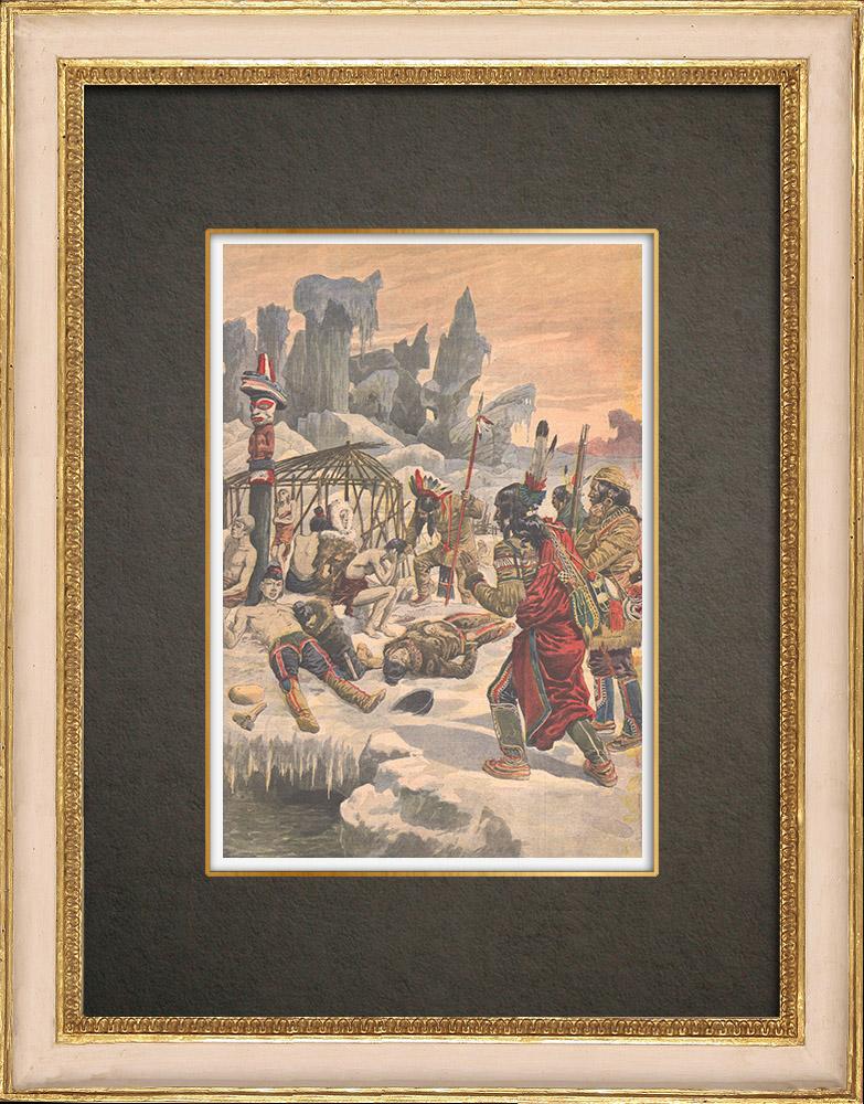 Stampe Antiche & Disegni | Eschimesi morti per il freddo in Siberia - Russia - 1908 | Incisione xilografica | 1908