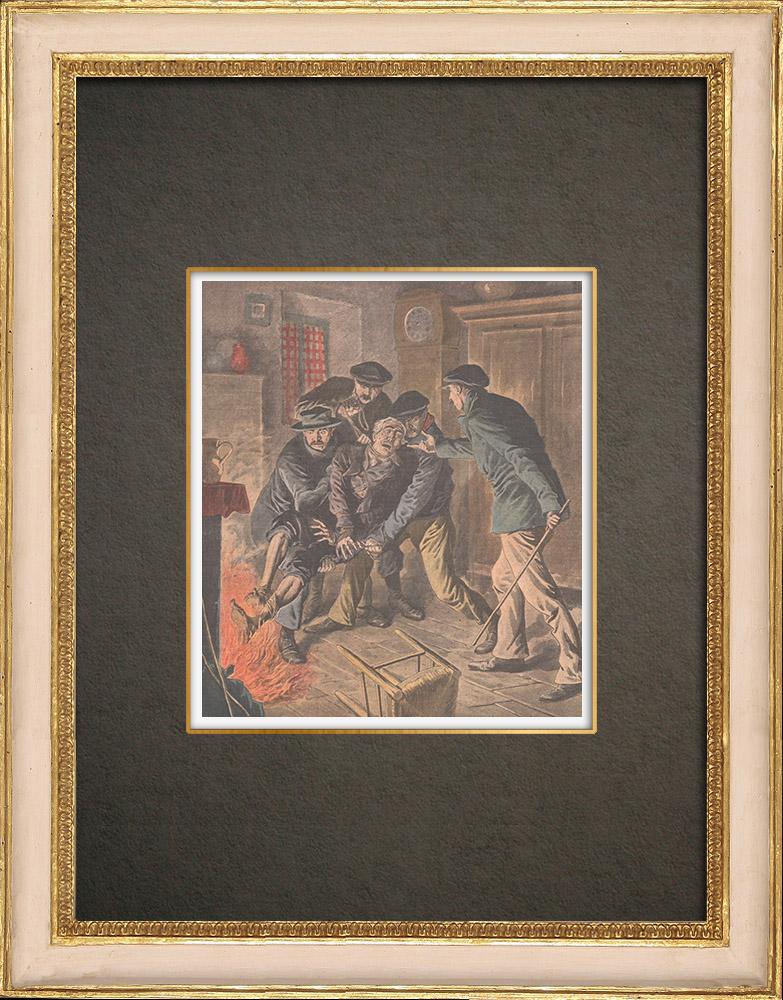 Stampe Antiche & Disegni | I Chauffeurs de la Drôme che torturano una vittima - Francia - 1908 | Incisione xilografica | 1908