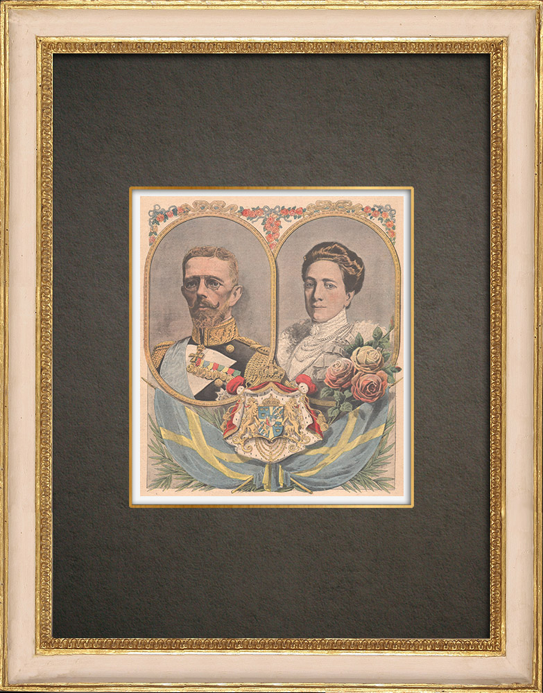 Antique Prints & Drawings   Portraits of Gustaf V of Sweden (1858-1950) and Victoria de Bade (1862-1930)   Wood engraving   1908
