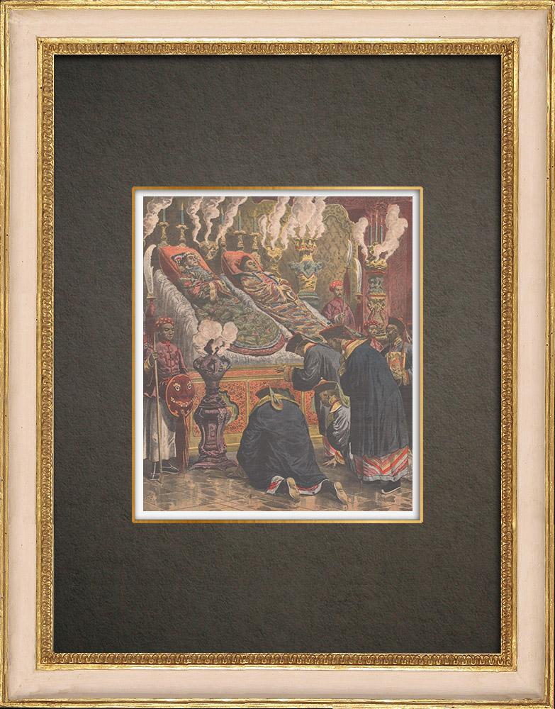Stampe Antiche & Disegni   Morte dell'Imperatrice Cixi e dell'Imperatore Guangxu - Dinastia Qing - Città Proibita - Pechino - 1908   Incisione xilografica   1908